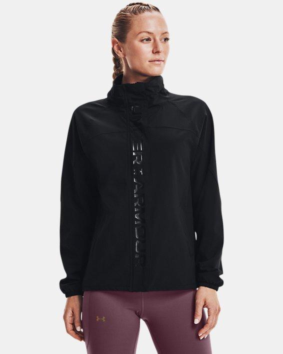 Women's UA RUSH™ Woven Full-Zip Jacket, Black, pdpMainDesktop image number 1