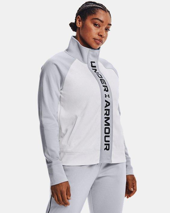 Women's UA RUSH™ Tricot Jacket, White, pdpMainDesktop image number 1