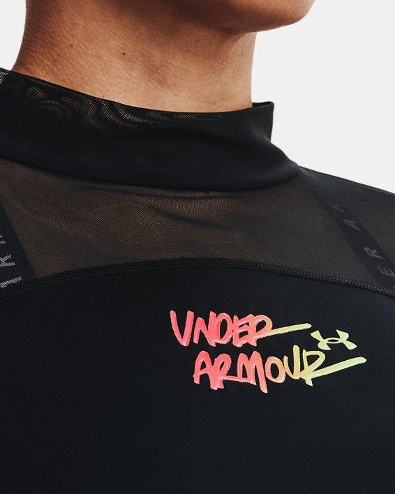 Camiseta corta con cuello alto HeatGear® para mujer, Black, pdpMainDesktop image number 3