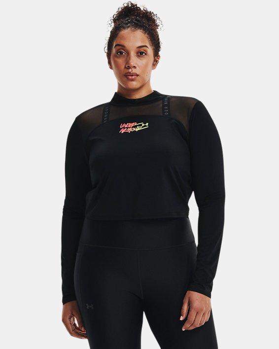 Camiseta corta con cuello alto HeatGear® para mujer, Black, pdpMainDesktop image number 0
