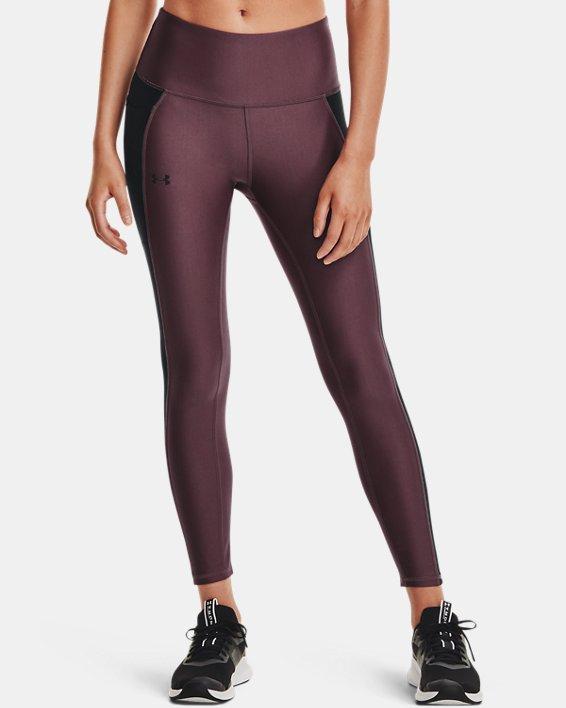 Women's HeatGear® Armour No-Slip Waistband Panel Ankle Leggings, Purple, pdpMainDesktop image number 1