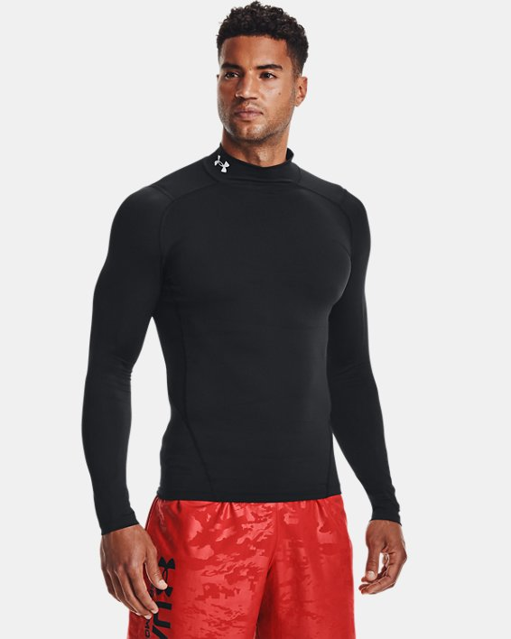 Men's HeatGear® Mock Long Sleeve, Black, pdpMainDesktop image number 0