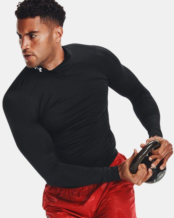 Men's HeatGear® Mock Long Sleeve, Black, pdpMainDesktop image number 3