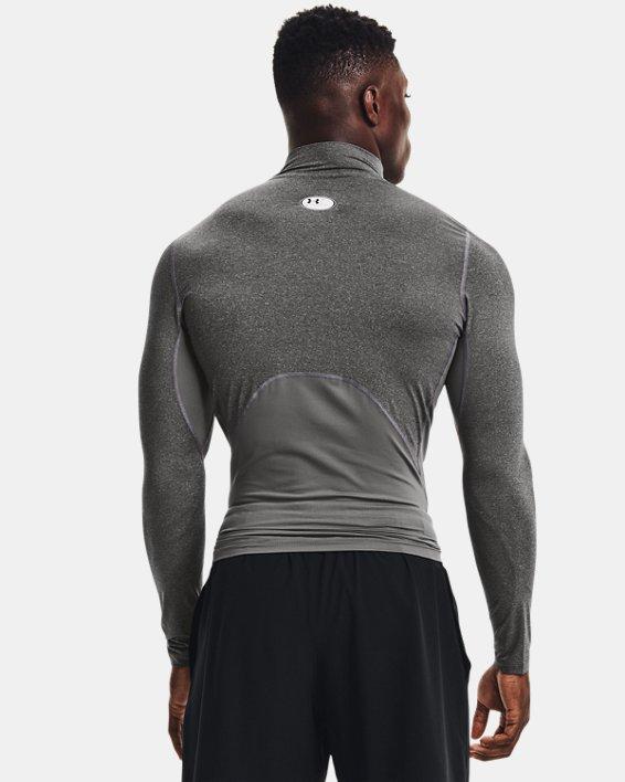 Men's HeatGear® Armour Mock Long Sleeve, Gray, pdpMainDesktop image number 1