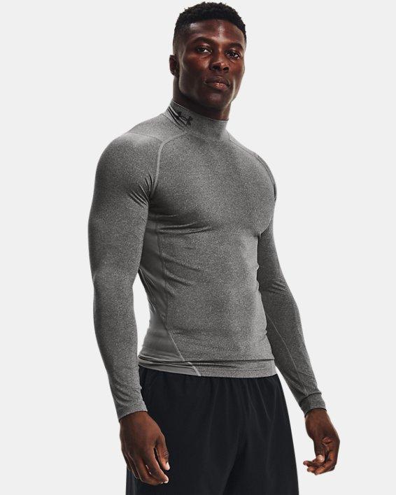 Men's HeatGear® Armour Mock Long Sleeve, Gray, pdpMainDesktop image number 0