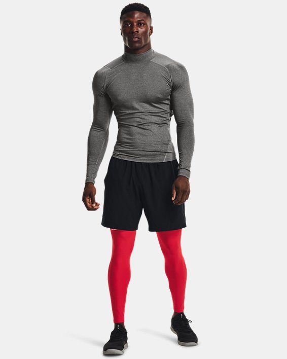 Men's HeatGear® Armour Mock Long Sleeve, Gray, pdpMainDesktop image number 2