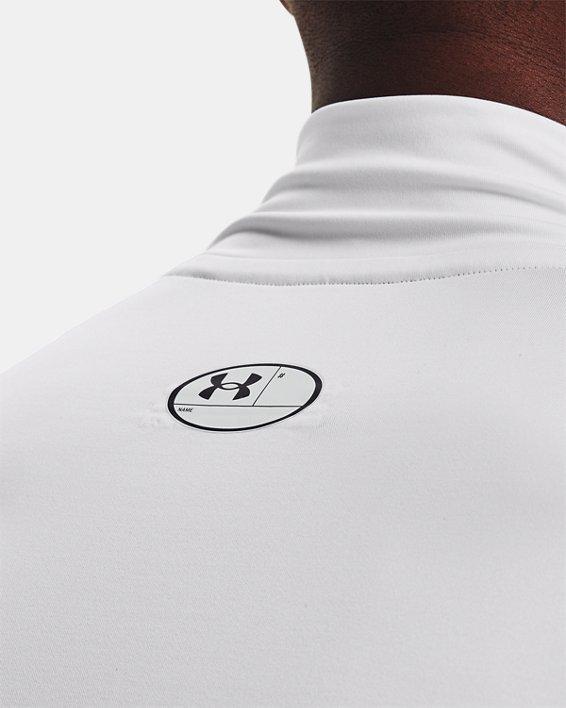 Men's HeatGear® Armour Mock Long Sleeve, White, pdpMainDesktop image number 3