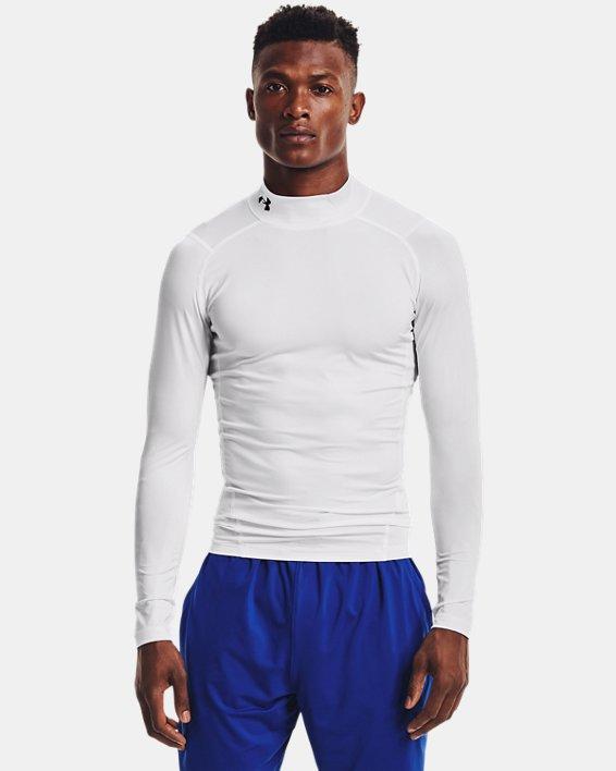 Men's HeatGear® Armour Mock Long Sleeve, White, pdpMainDesktop image number 0