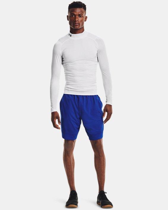 Men's HeatGear® Armour Mock Long Sleeve, White, pdpMainDesktop image number 2