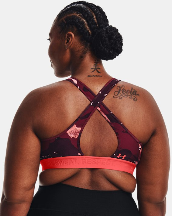 Women's Project Rock Printed Sports Bra, Red, pdpMainDesktop image number 2