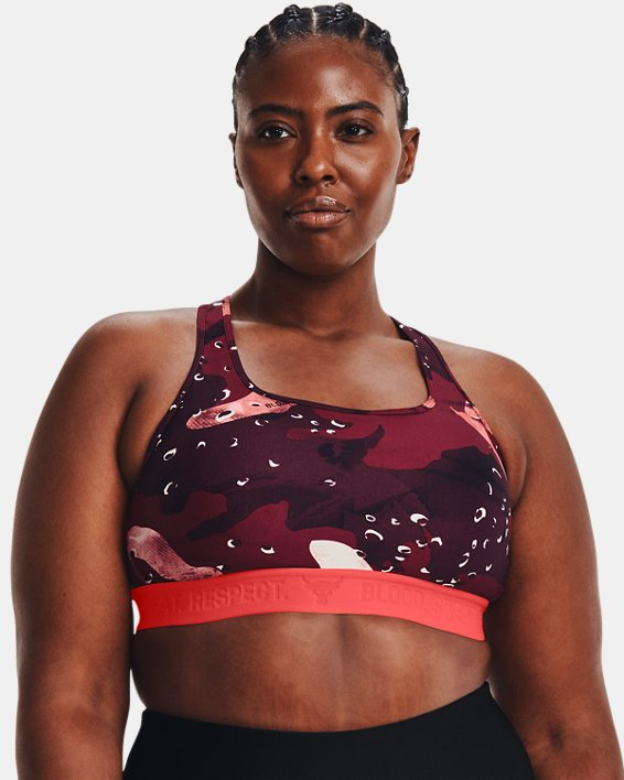 Women's Project Rock Printed Sports Bra, Red, pdpMainDesktop image number 0