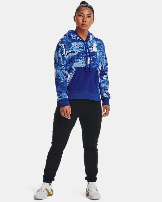Women's Project Rock Printed Hoodie, Blue, pdpMainDesktop image number 2
