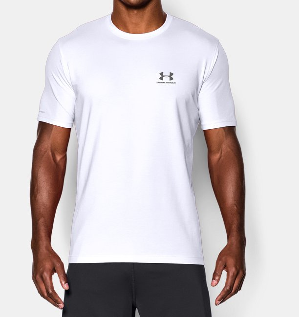 Under armour sportswear sport shoes accessories uk for T shirt left chest logo size