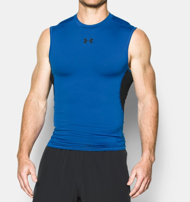 ae0334bdb5938 Under Armour Men s UA HeatGear Armour Sleeveless Compression Shirt Image
