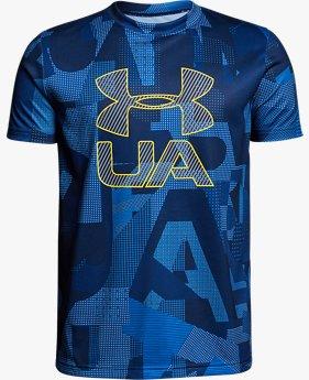 【アウトレット】UAテックTシャツ<PrintCroショートスリーブfade>(トレーニング/BOYS)