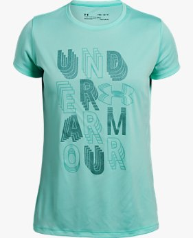 Girls' UA Linear Wordmark Short Sleeve