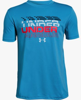 Boys' UA Stepped Wordmark Short Sleeve