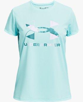 Meisjesshirt UA Tech™ Graphic Big Logo met korte mouwen