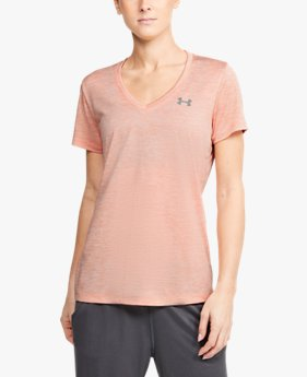 Dames T-shirt UA Twist Tech™ met V-hals