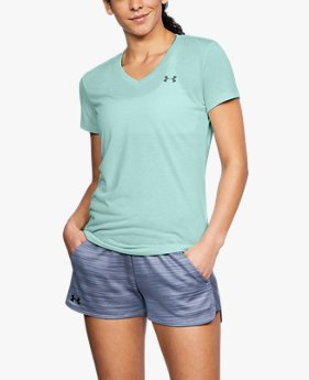 Camiseta Gola V UA Threadborne Train Twist - Feminina