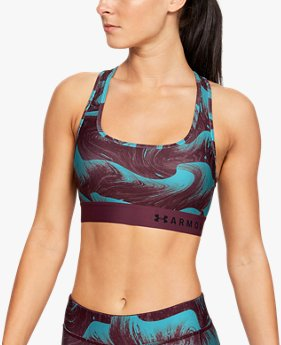 Women's Armour® Mid Crossback Print Sports Bra