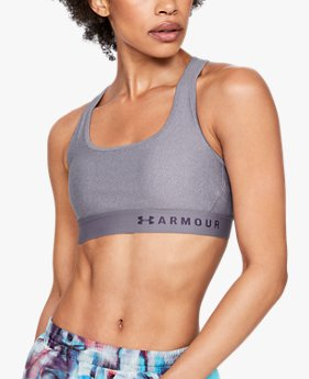 Women's Armour® Mid Crossback Heathered Sports Bra