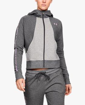 Polerón con gorro UA Microthread Fleece Graphic Full Zip para mujer