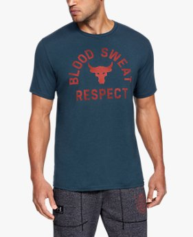Camiseta de Manga Curta UA x Project Rock Blood Sweat Respect Masculina