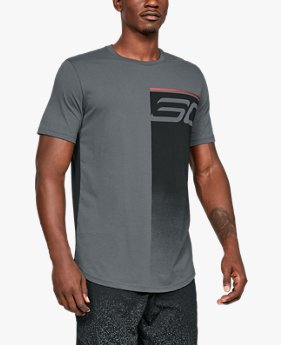 Camiseta de Basquete Masculina Under Armour SC30 Logo Fade Away