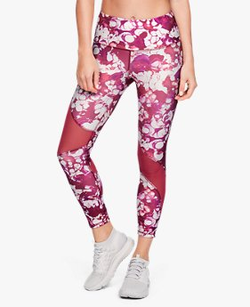 Damen HeatGear® Crop-Hose mit Armour-Print, knöchellang