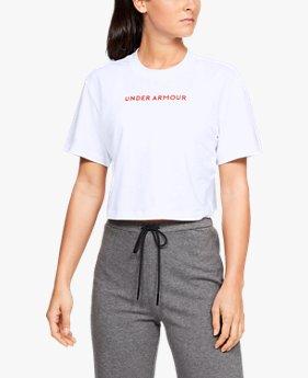 Kaus Crop Lengan Pendek UA Be Seen Graphic untuk Wanita