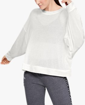 Moletom de Treino Feminino Under Armour Mesh Around Oversize Crew