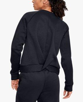 Damen UA Recovery Fleece-Shirt mit Rundhalsausschnitt und Schriftzug