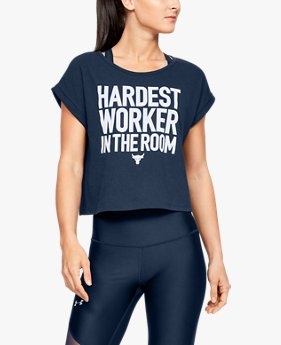 Women's Project Rock Hardest Worker Cropped Short Sleeve