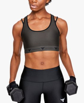 Sujetador deportivo de sujeción media Project Rock Armour® Crossback Strappy para mujer