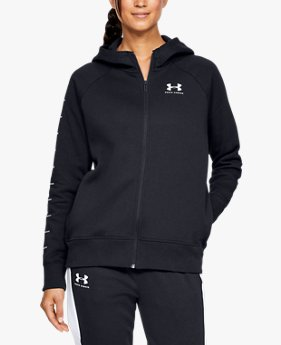 Felpa con cappuccio UA Rival Fleece Sportstyle LC Sleeve Graphic Full Zip da donna