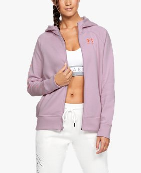 Women's UA Rival Fleece Sportstyle LC Sleeve Graphic Full Zip