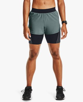 Damen UA RUSH™ 2-in-1-Laufshorts