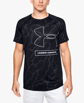 Camiseta de manga corta con estampado en tonos similares UA MK-1 para hombre