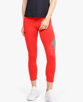 Damen UA RUSH™ Embossed Shine Crop-Hose mit Grafik