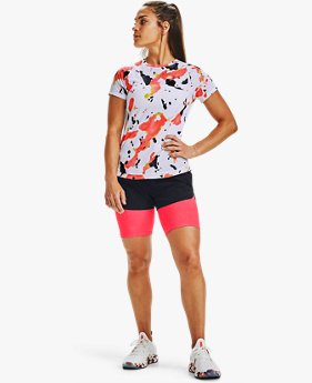 Damen UA Qualifier Run Iso-Chill Upstream Camo Shirt, kurzärmelig