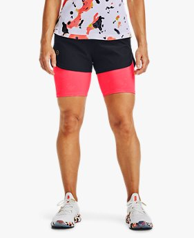 Damen UA RUSH™ Upstream Camo 2-in-1-Laufshorts