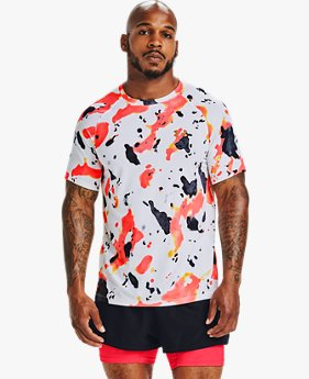 Herenshirt UA Qualifier Run Iso-Chill Upstream Camo met korte mouwen