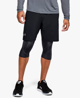 Herren UA Launch SW Lange 2-in-1-Shorts mit Aufdruck