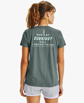 Playera Manga Corta UA How's My Running para Mujer
