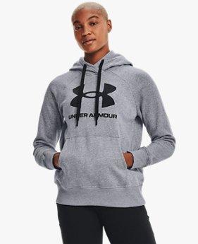 Sweat à capuche avec logo UA Rival Fleece pour femme