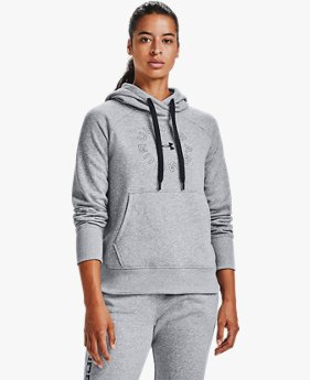Sweat à capuche UA Rival Fleece Metallic pour femme