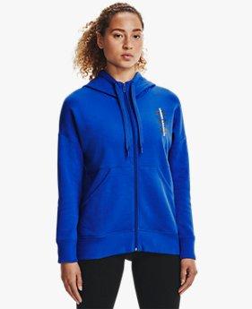 Sweat à capuche UA Rival Fleece Multilogo Full Zip pour femme
