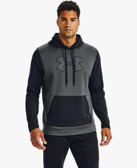Erkek Armour Fleece® Textured Big Logo Kapüşonlu Üst