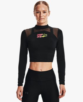 Women's HeatGear® Crop Mock Neck Top